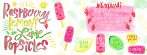 Raspberry lemony lime popsicles
