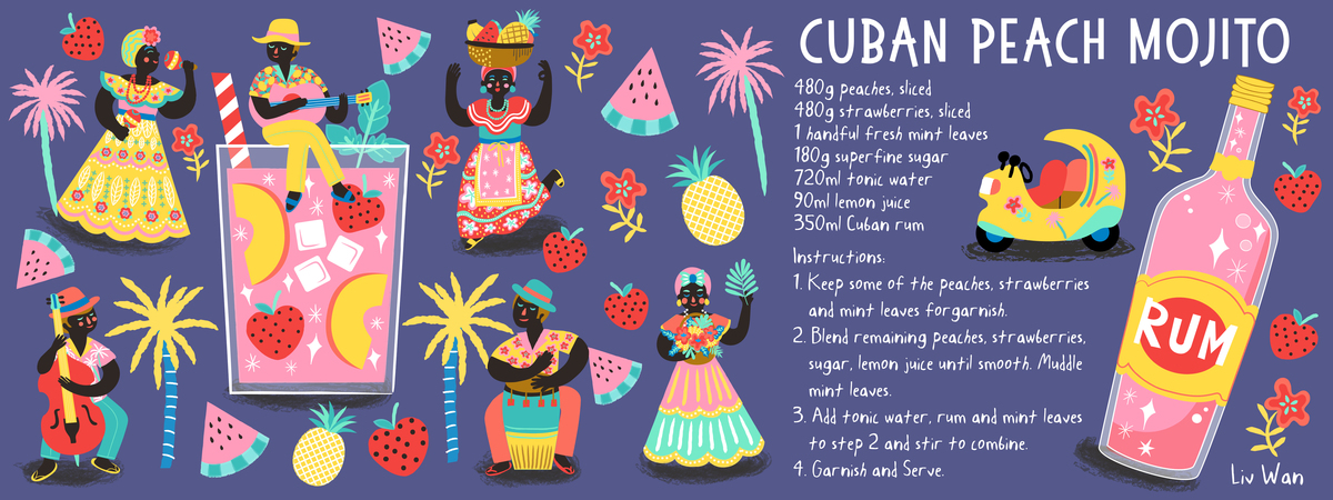 Tdac cuban peach mojito recipe illustration