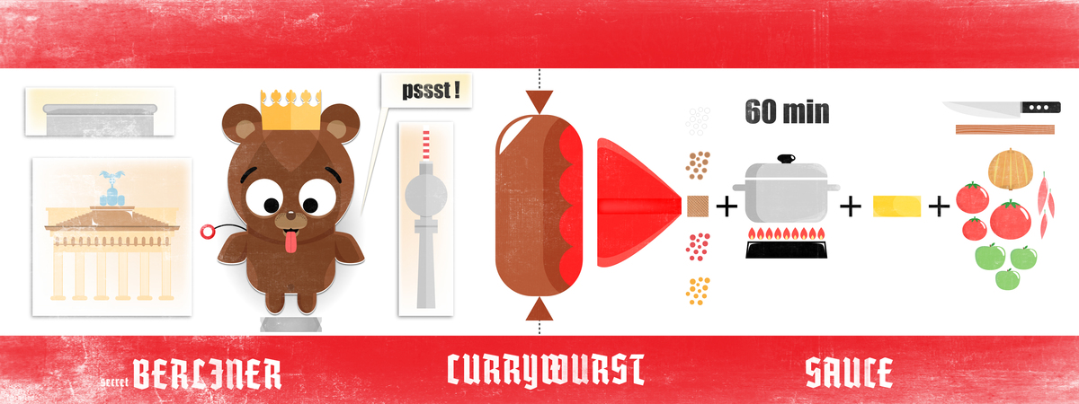 They draw and cook berliner currywurst 3 plus texd 22a