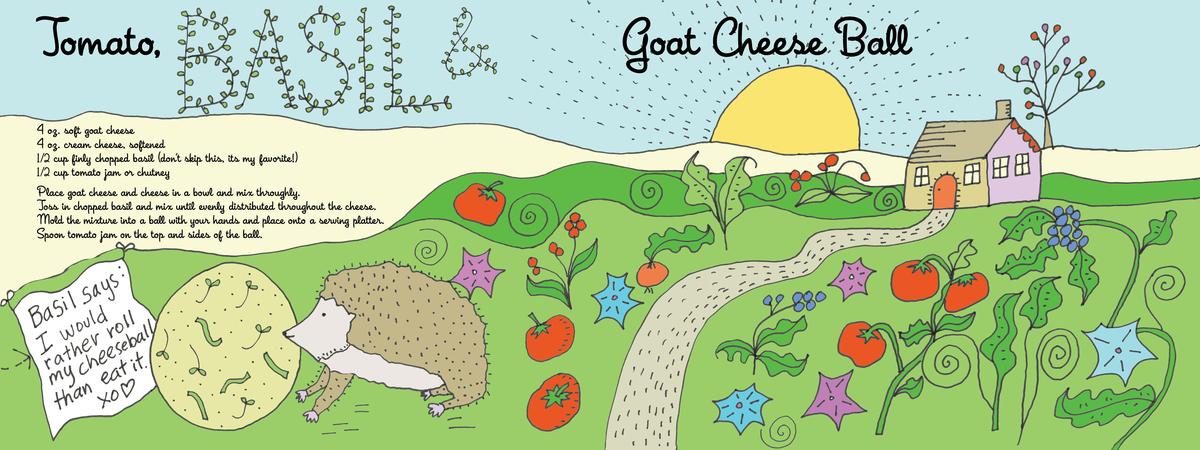 Tomato basil goat cheese ball*