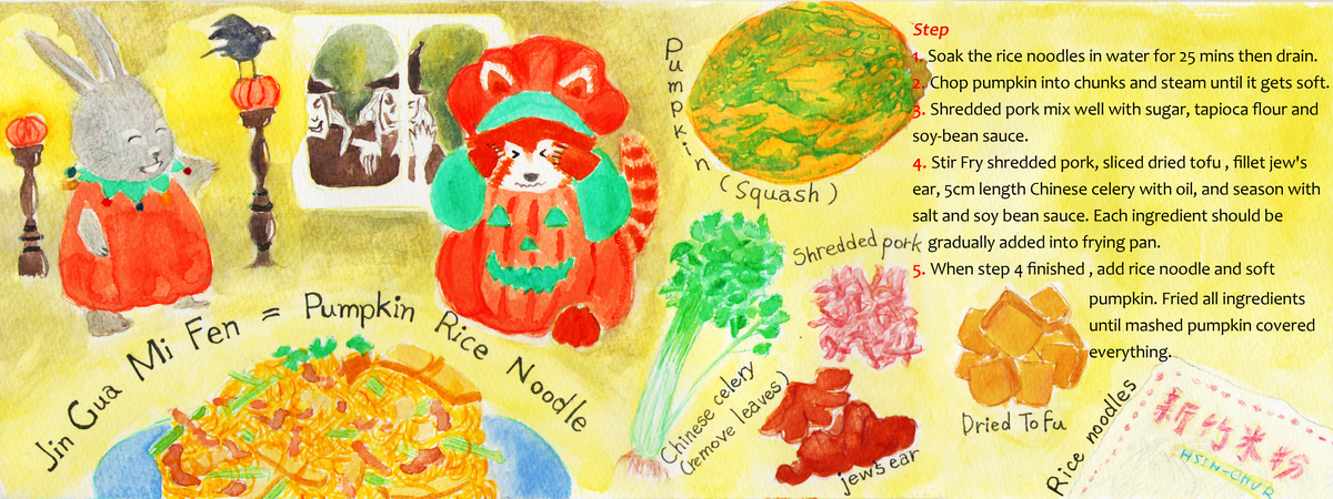 Mimi Rabbit's Pumpkin Rice Noodles by Ashley Yen - They Draw & Cook