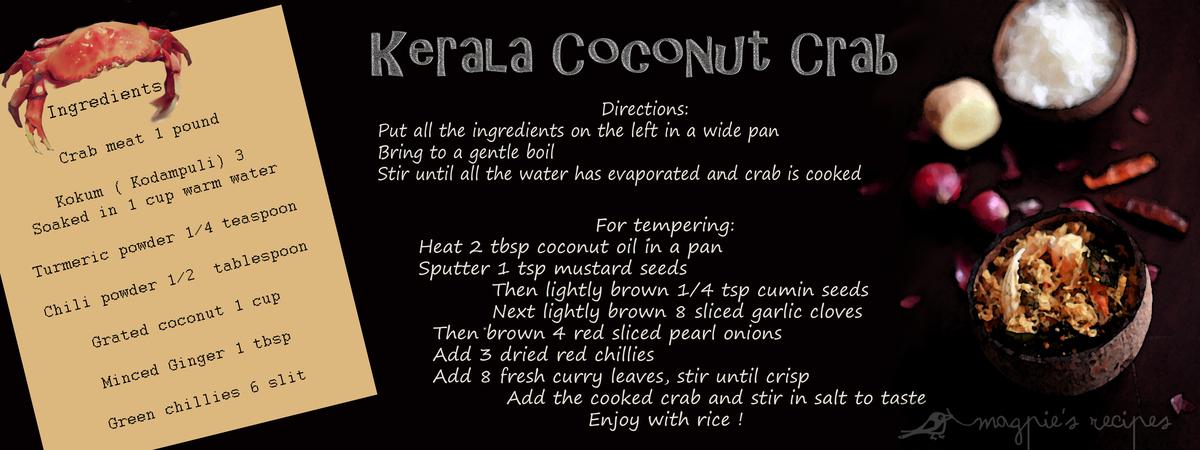 Tdac magpies recipes kerala coconut crab