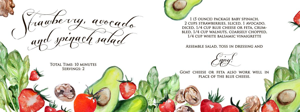 Strawberry, Avocado and Spinach Salad by Evgeniya Sazykina - They Draw ...