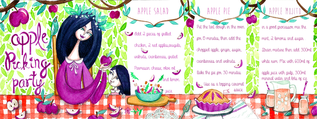 Apple picking party illustration