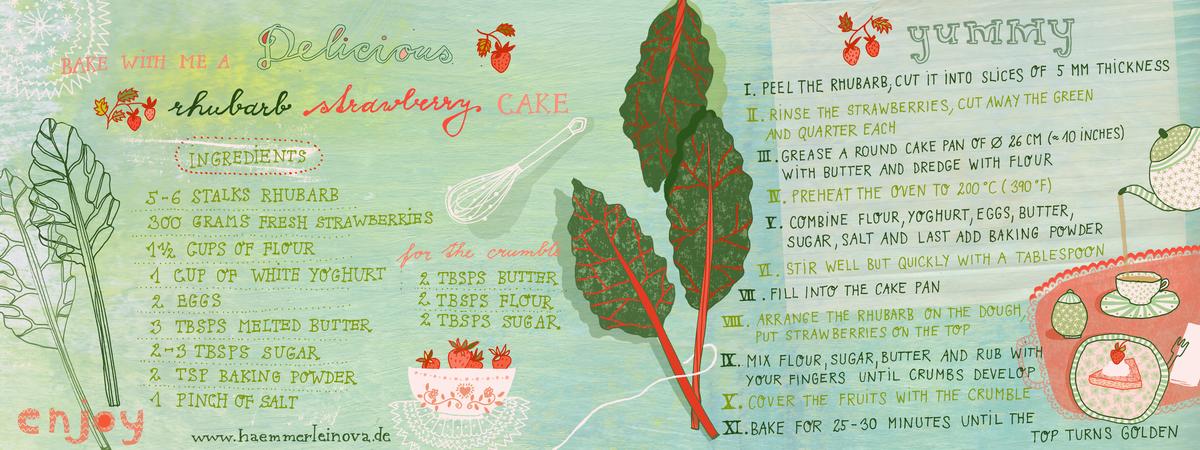 Rhubarb strewberry cake by petra haemmerleinova