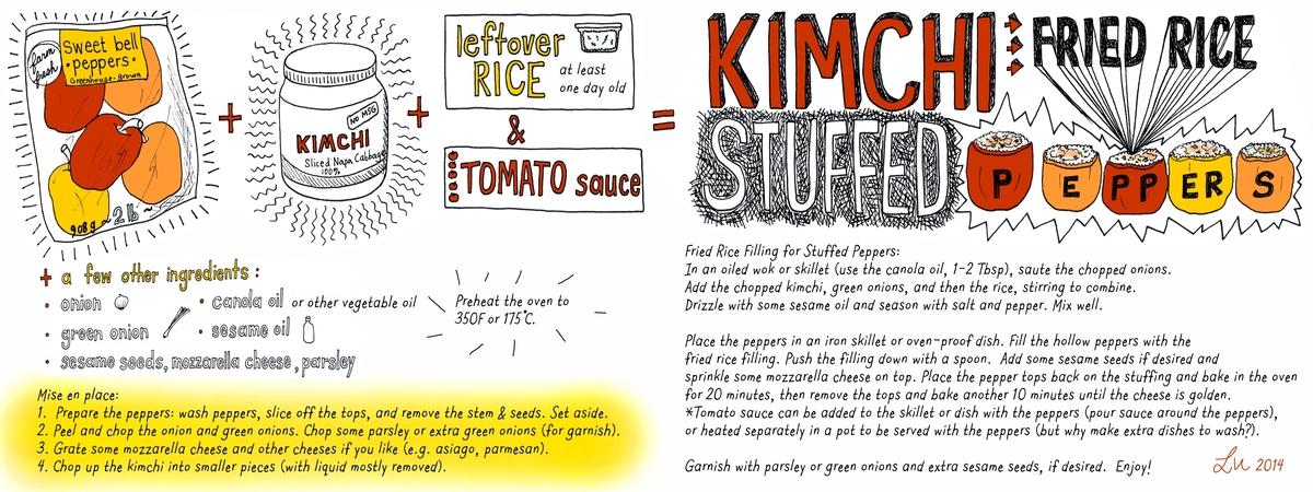 Kimchi fried rice stuffed peppers