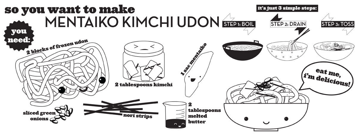 Mentaiko kimchi udon by stephanie le
