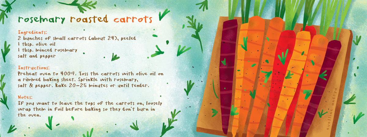 Rosemary Roasted Carrots by Evelline Andrya - They Draw & Cook