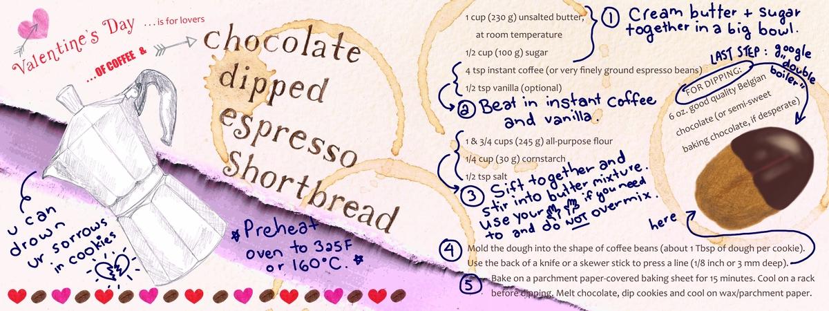 Chocolate dipped espresso shortbread