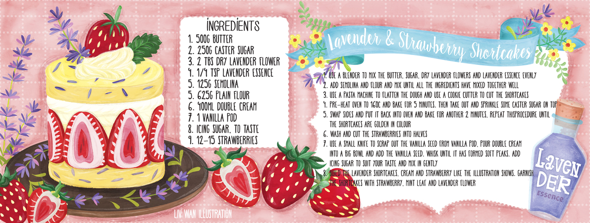 Tdac lavender and strawberry shortcakes recipe illustration