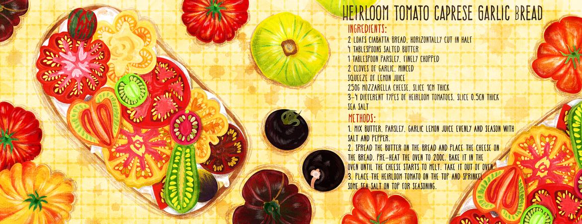Tdac heirloom tomato caprese garlic bread recipe illustration