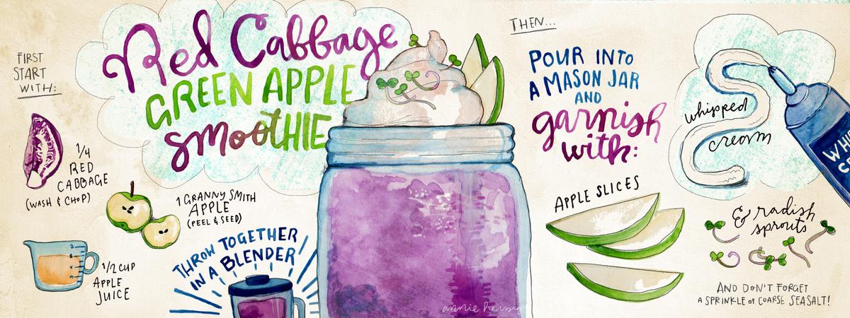 Redcabbage greenapple smoothie recipe