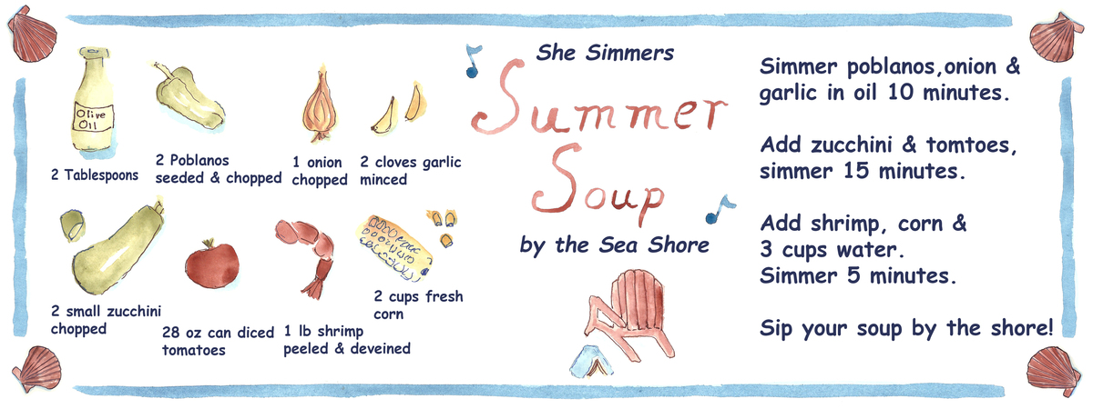 She simmers summer soup by the seashore