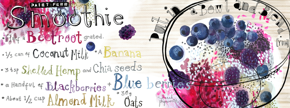 They draw and cook dairy free berry smoothie illustration by sarah papworth