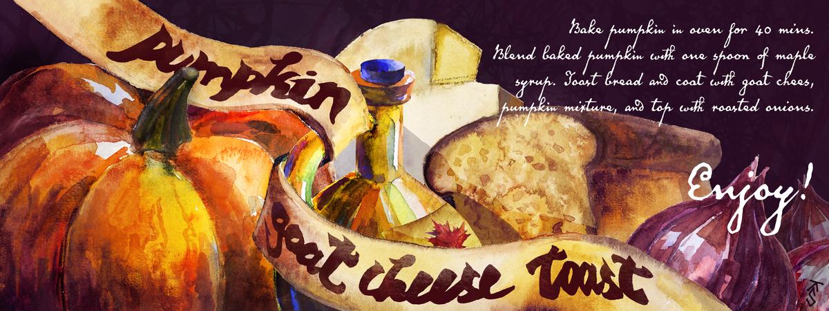 Pumpkin toast watercolor