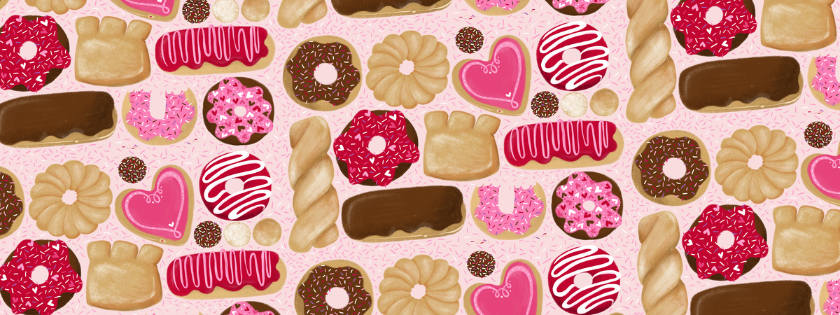 Valentines donuts food illustration steph calvert art tdac