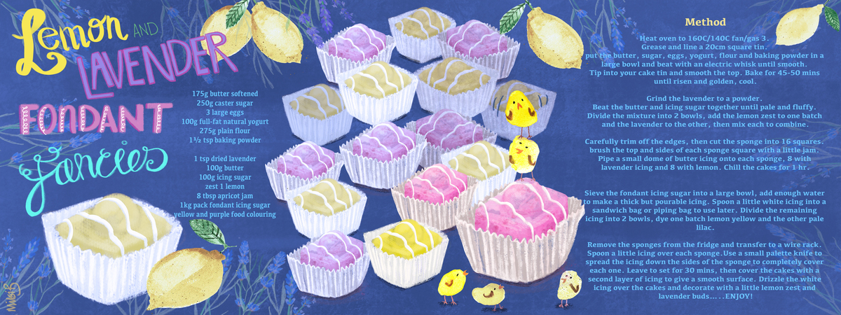 Lemon and lavender fondant fancies