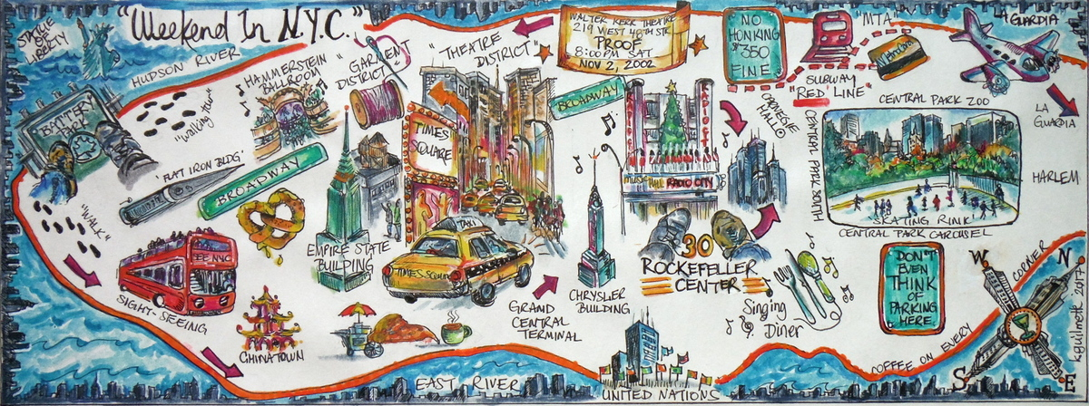 Mapping Memories In New York City By Kimberley Guilmette They - New york city map drawing