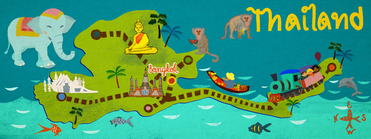 Thailand illustrated map travel