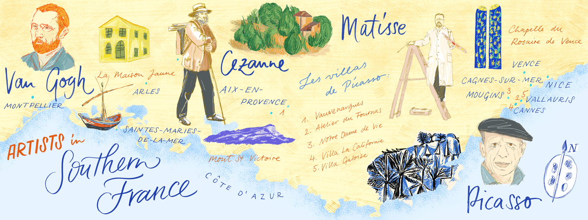 Southern france artist map
