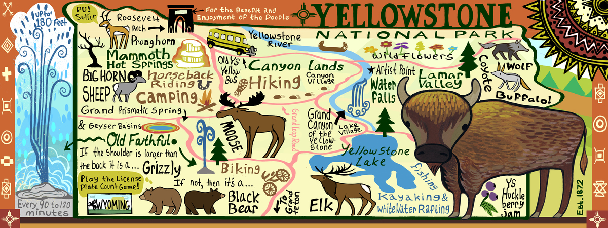 Yellowstone National Park USA By Kaitlyn McCane They Draw Travel - Yellowstone park us map