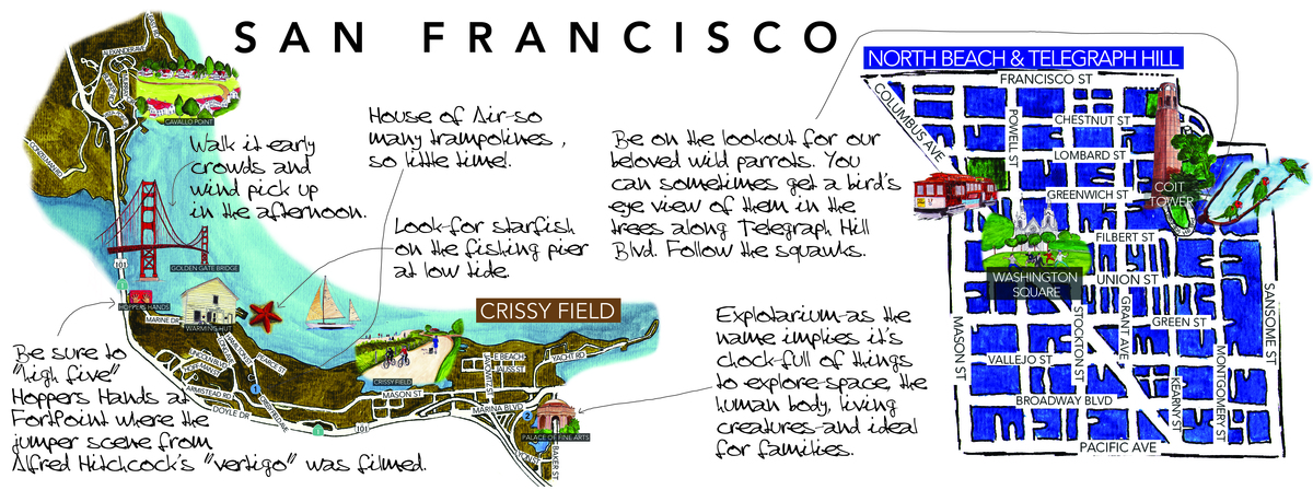 San Francisco California by Gaby FlorezEstrada They Draw and Travel – Travel Map Of California