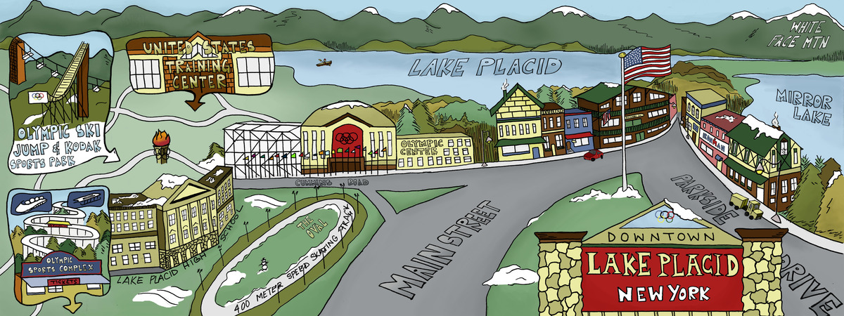 Lake Placid New York By Mallory Nall Illustration Design Llc: New York Map Lake Placid At Usa Maps