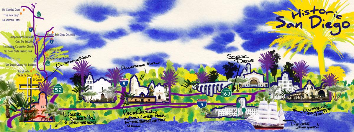 San diego map historic