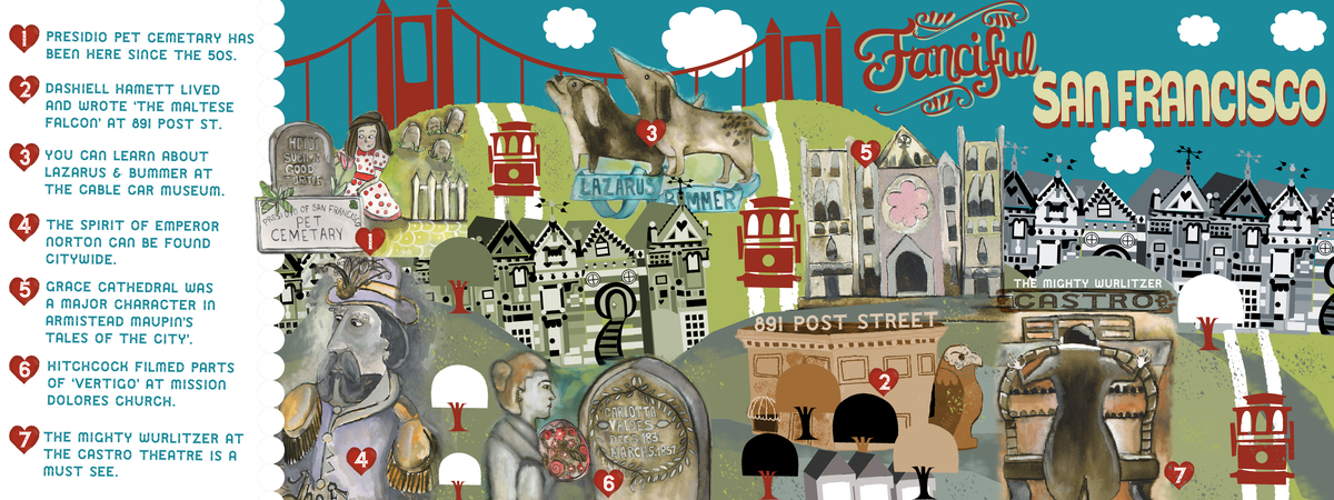 Fanciful Map of San Francisco California by Rachael Schafer