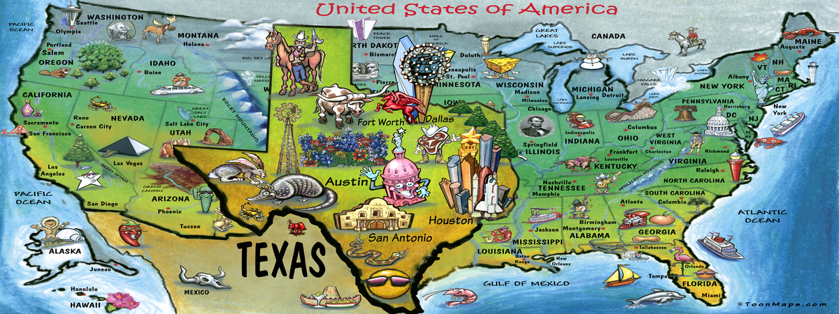 Texas USA By Kevin Middleton They Draw Travel - Texas map of usa