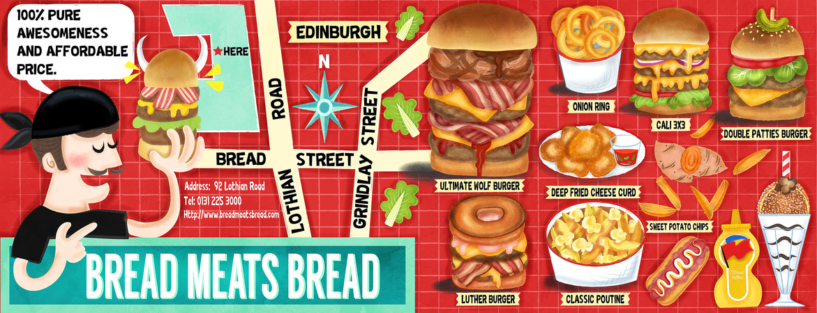 Tdat bread meats bread illustration