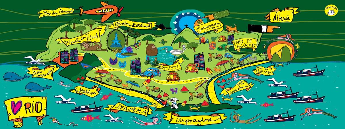 Mapa rio de janeiro they draw and travel