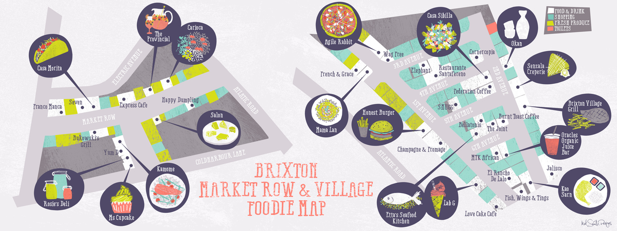 Brixton foodie map   mel smith designs