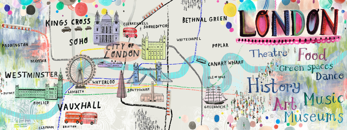 Vibrant london illustration by sarah papworth