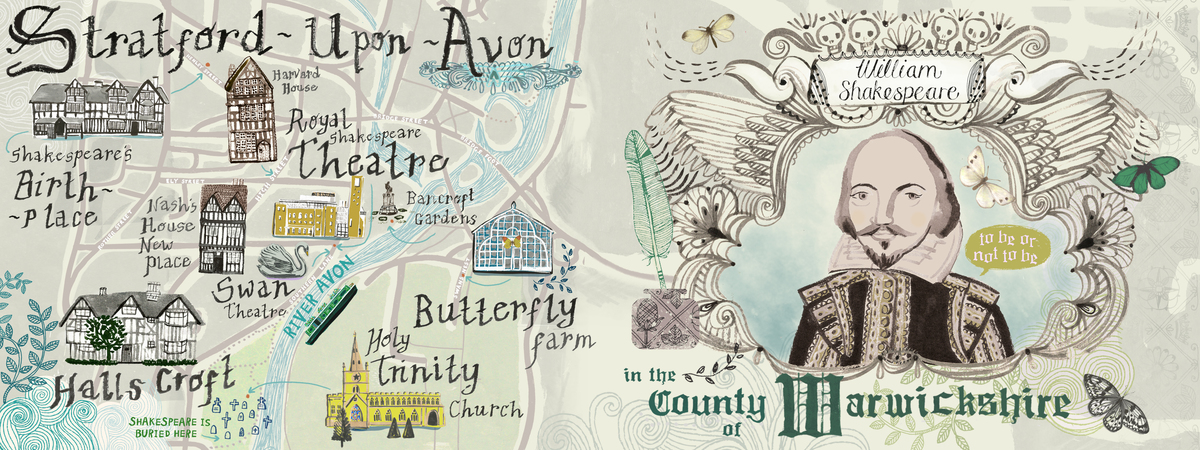Stratford upon avon illustrated map by sarah papworth
