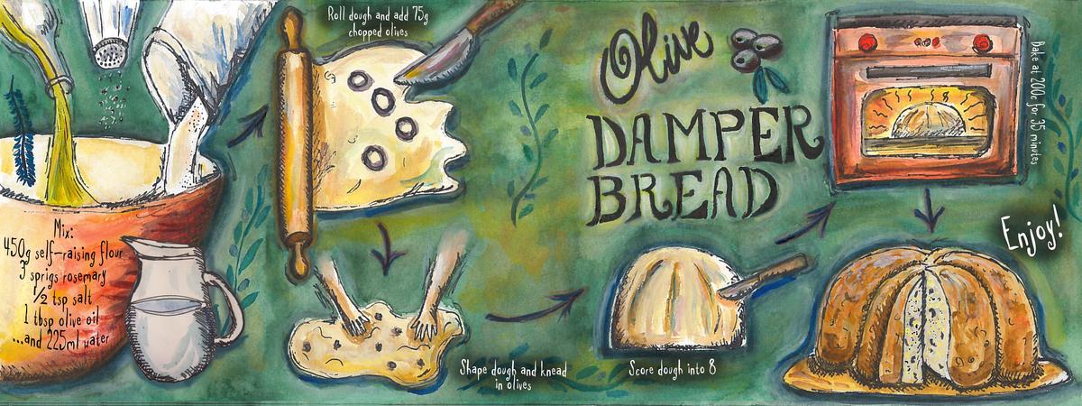 Olive damper bread