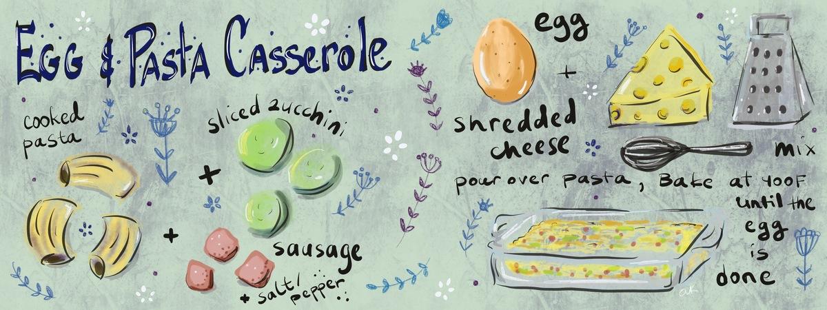 Egg   pasta casserole by anya kopotilova greenrainart