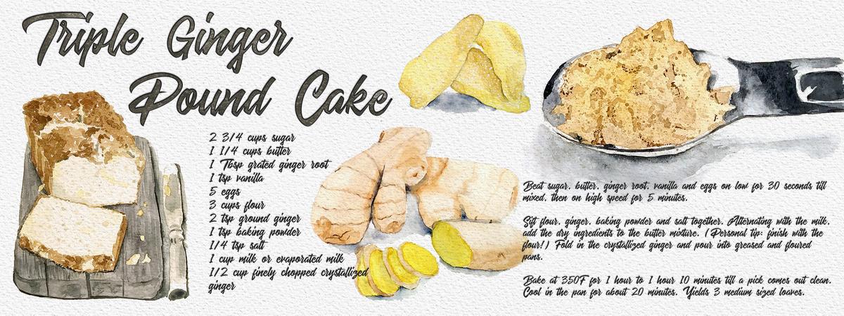 Triple ginger pound cake