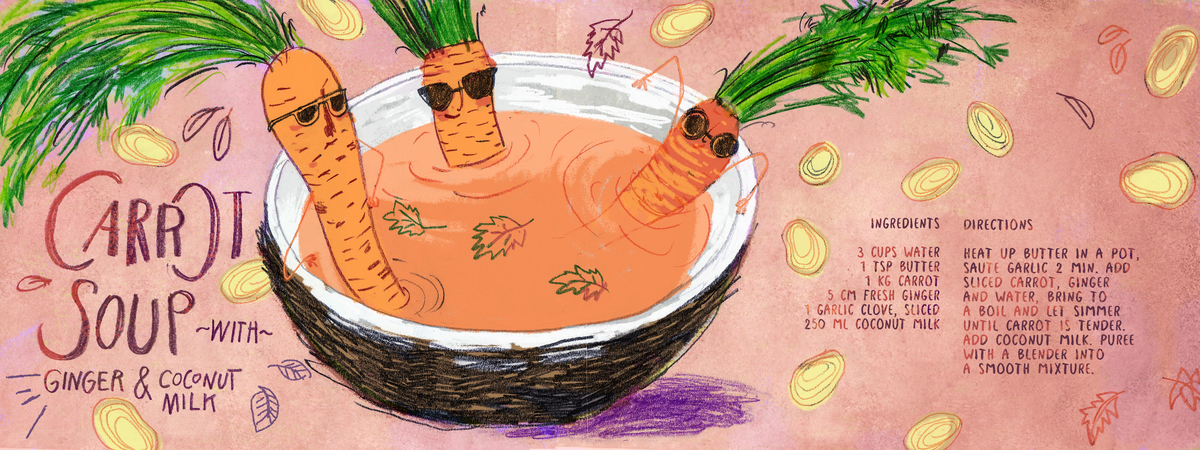 They draw and cook 02 carrot soup