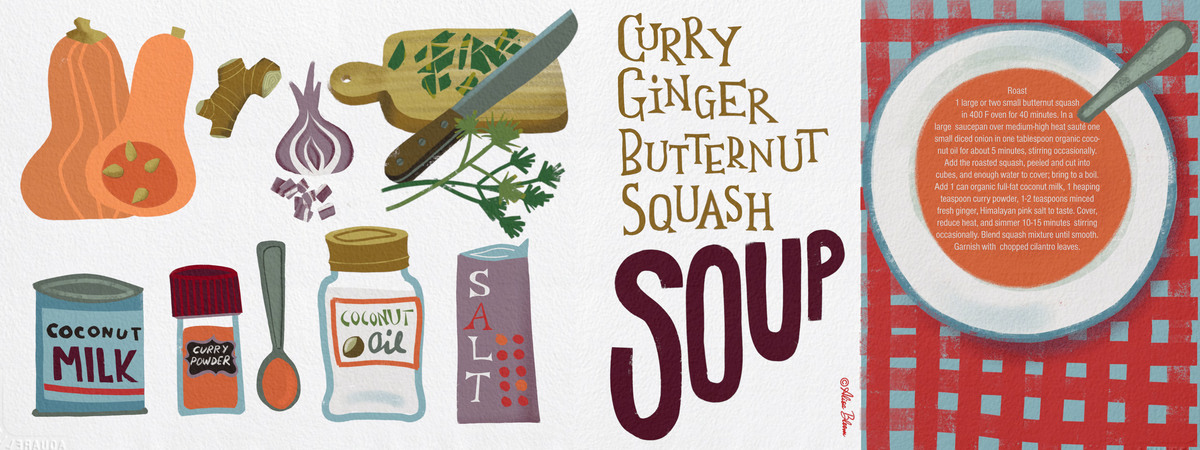 Curry ginger coconut butternut squash alisa bloom