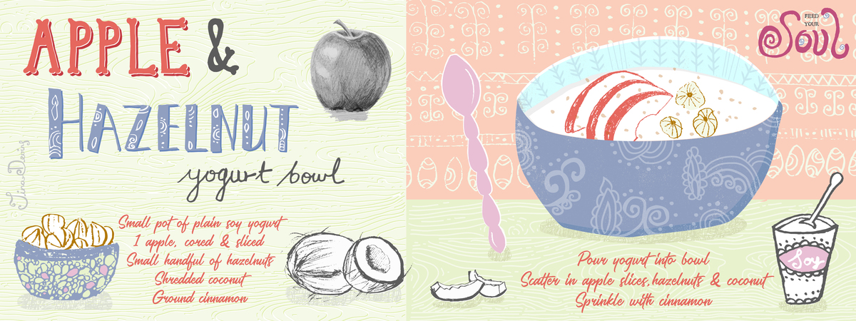 Apple hazelnut yogurt bowl tina devins they draw and cook