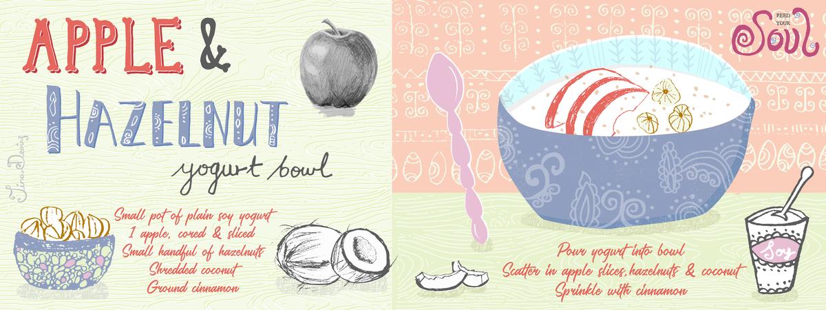 Apple hazelnut yogurt bowl tina devins they draw and cook