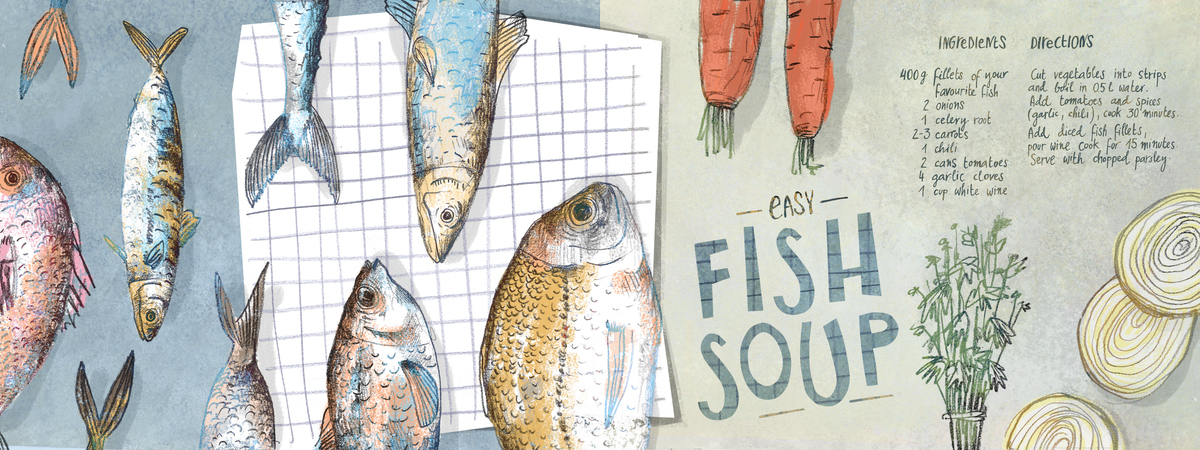 They draw and cook 03 fish soup