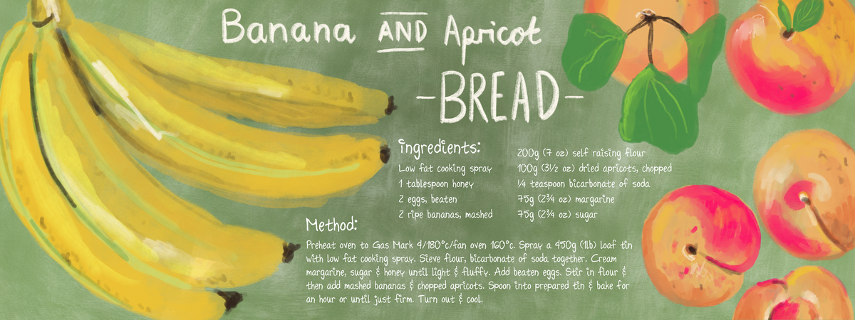 Banana and apricot bread