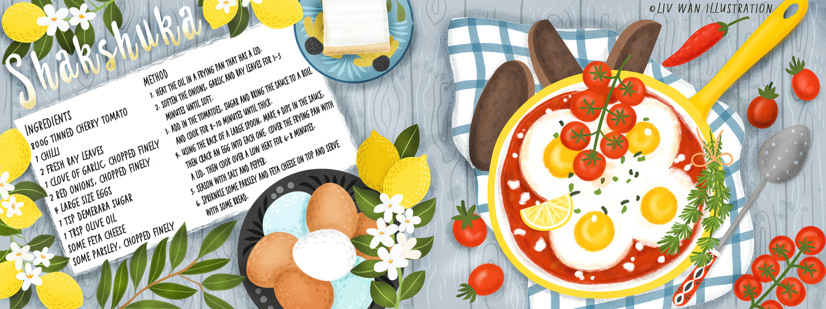 Tdac livwan shakshuka baked egg food illustration