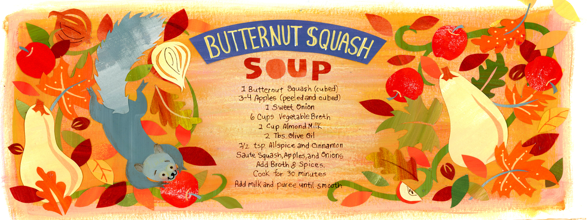 Butternut squash soup draw and cook soup