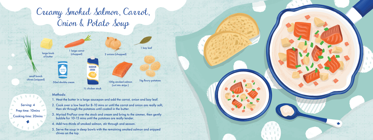 Creamy smoked salmon  carrot  onion and potato soup1