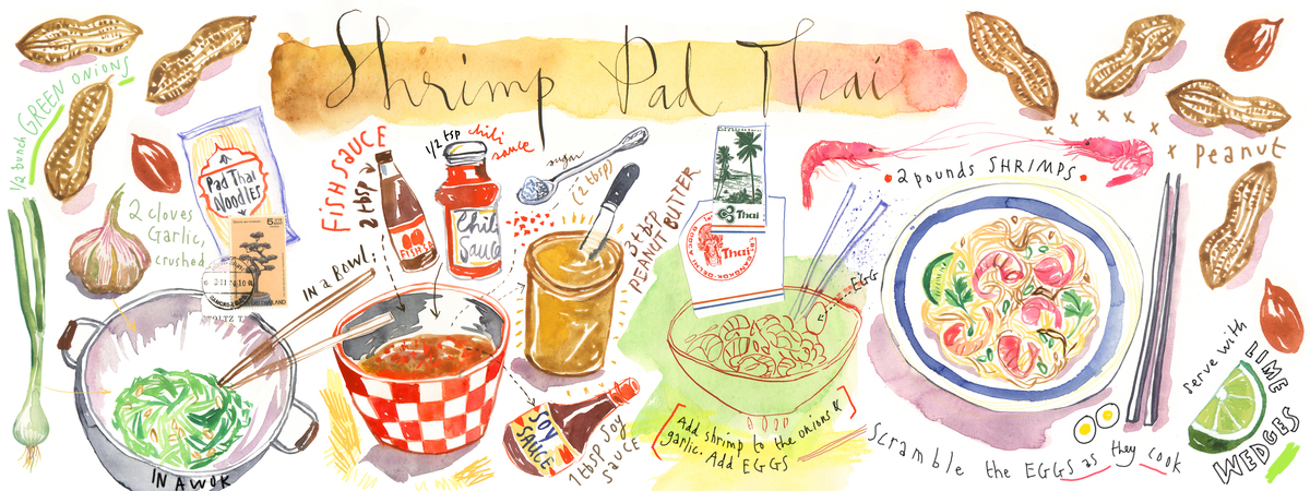 Shrimp pad thai illu