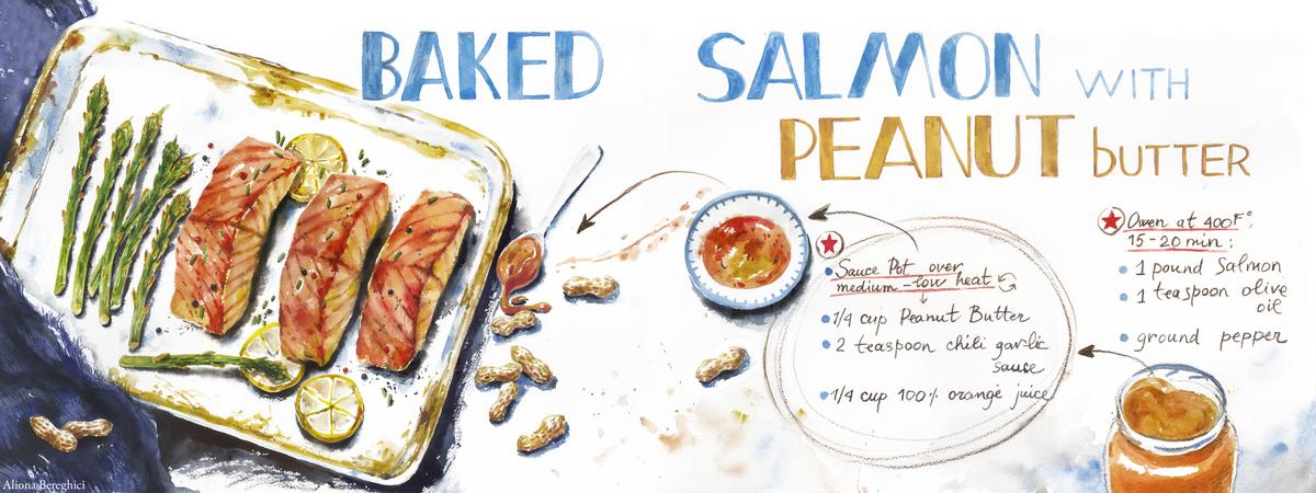 Salmon peanut butter glaze good one