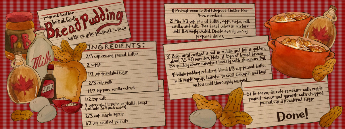 Peanut butter lovers bread pudding illustrated recipe